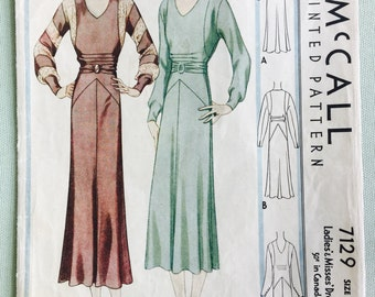 30s Dress Pattern, Size 18, Bust 36, McCall 7129, 1930s Vintage Sewing Pattern