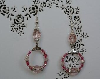 Pink crystal hoop earrings, small silver hoop earrings, baby pink hoop earrings, fuchsia silver hoop earrings, pink drop crystal earrings