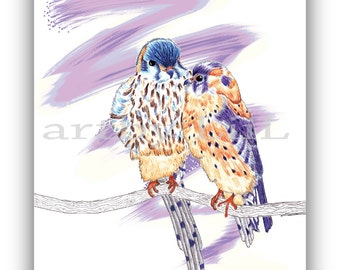 Two love birds - Bird pencil print Lilac and orange - A4 instant download - Valentines gift Anniversary gift Gift for her - Lovebirds print