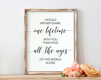 Lord of the Rings Quote | J.R.R. Tolkien | I Would Rather Share One Lifetime | Wedding Decor | INSTANT DOWNLOAD 8x10 Printable Digital Art