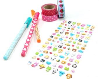 Cute Kawaii Animal Puffy Stickers (108 count)