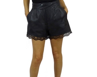 short leather with lace