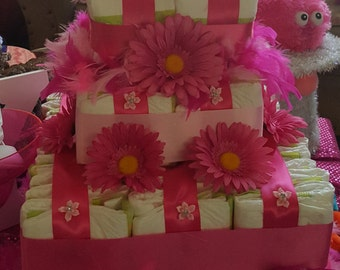 Pink Square Diaper Cake