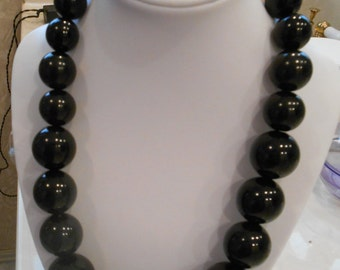 chunky necklace and earring set,black bead set,jewelry set
