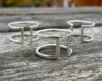 Cage Ring in Sterling Silver Double Band Ring
