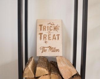 Personalized Halloween Decor - Halloween Art - Trick or Treat - Halloween Door - Halloween Decorations - Halloween Spider - Halloween Bat