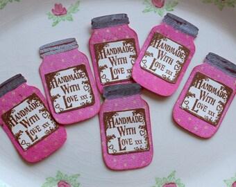 6 Pink Shabby Chic Mason Jar gift tags, Pink Bo bunny cardstock,