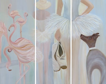 Triptych, 40x120x2cm (3 x), original, flamingos, ballet shoes, ballerina with dog, pastel tones in light blue and pink