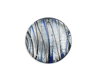 42mm Handmade Fused Glass Pendant Silver Black, Big Round Pendant, Large Necklace Pendant, Silver Foiled, 1pc