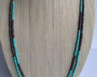 Boho Style Necklace; Bohemian Beaded Necklace; Teal and Brown Necklace; Boho Chic Necklace; Layered Necklace; Multi Strand Necklace