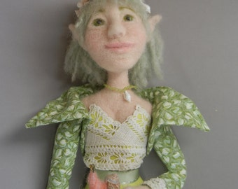 Art Doll, Periwinkle: Needle Felted Wall Doll, Elf