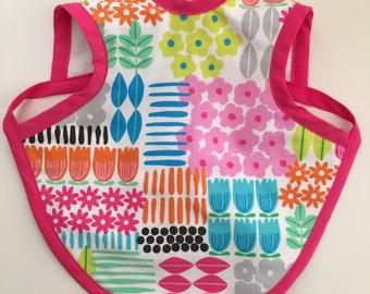 "Apron Bib - ""Bapron"" - Baby Girl Bright Multicolor Floral Bib"