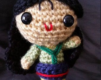Handmade Disney Princess Mulan//Crochet Doll//Gifts for Her//Collectible Miniature Toys//Amigurumi//Baby Shower Gift//Art Doll//