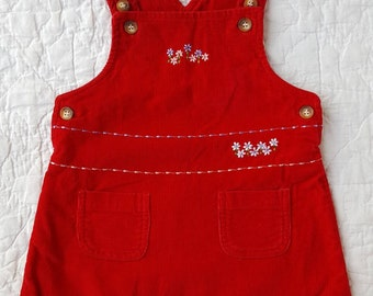 Vintage Baby Girl Red Corduroy Jumper Dress / Flower Embroidery / Pockets / 18 Months