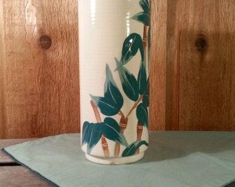 Weil Ware California Bamboo Painted Ceramic Vase