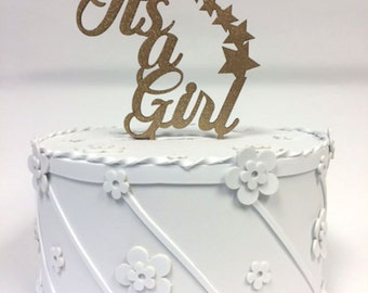 Caketopper for your cake. Its a Girl, Gold Glitter or acrylic.