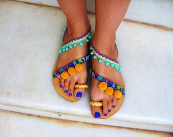 FREE SHIPPING Colorful Sandals / Pom Pom Sandals / Bohemian Strappy Sandals / Greek Leather Sandals / Womens Sandals / Ethnic Boho Sandals