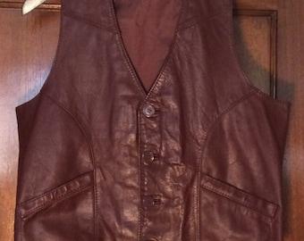 Vintage burgundy leather vest-sz m-l