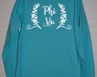 Phi Mu 116 Script and Half Wreath Comfort ColorTShirt Short Sleeve or Long Sleeve with White Design