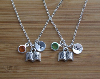 Open Book Necklace, Set of TWO Personalized Hand Stamped Initial Birthstone Necklace, Book Lover Monogram, Keepsake