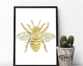 Bee art, Honey Bee Art, Insect Art, Bug Art, Poster, Trendy Wall Designs, large wall art, Trendy-art, Framed art, framed prints