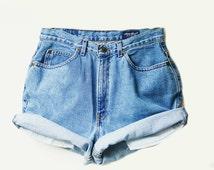 High Waisted Shorts - Medium Wash