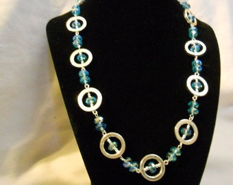 Turquoise Swarovski Crystal Circles Necklace