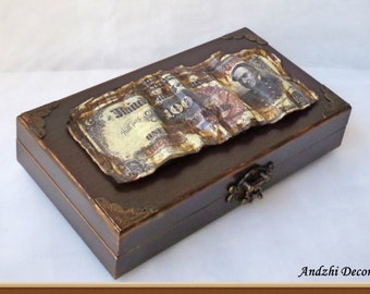 Cash box man,Vintage Cash box,Money box,Personalized gift,Business men gifts,brown money box,Banknotes Box,unique gifts for him,father gifts