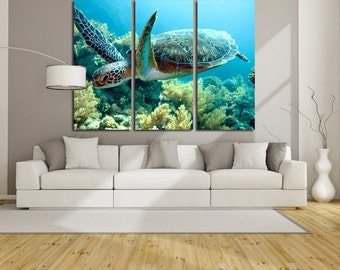 Turtle Wall Art Turtle Wall Decor Turtle Poster Turtle Canvas Turtle Print Turtle Photo Tropical fish Underwater Tropical Fish Photo