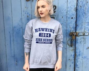 Stranger Things, Hawkins High | Grey Sweatshirt/Jumper