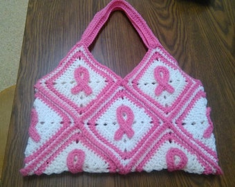 Breast Cancer Awareness Granny Square Bag/Purse (UNLINED) - Crochet