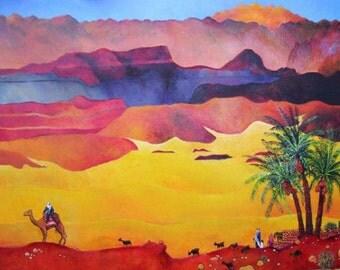 ORIGINAL PAINTING canvas art, living room wall art, israeli art, colorful wall art, bible verse wall art, figurative art, folk art painting