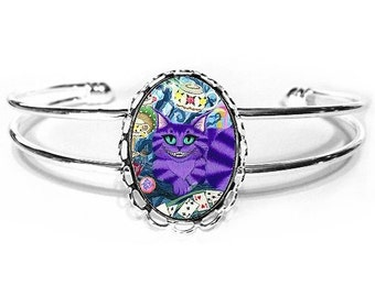 Cheshire Cat Bracelet Alice in Wonderland Cat Painting Silver Fantasy Cat Art Cameo Bracelet 25x18mm Gift for Cat Lovers Jewelry