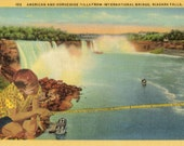Niagara Falls Waterfall Decor, Surrealism, Water Scape Artwork, Waterscape Art Postcard, Original Collage, Surreal Bridge, OOAK Gift