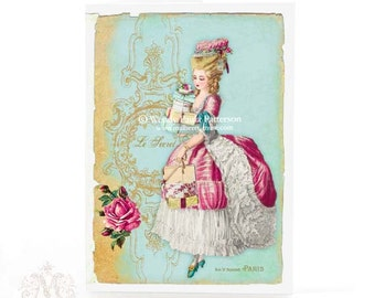 Marie Antoinette, greeting card, Christmas card, French vintage style, French lady, Paris, pink roses, blue and gold, birthday card