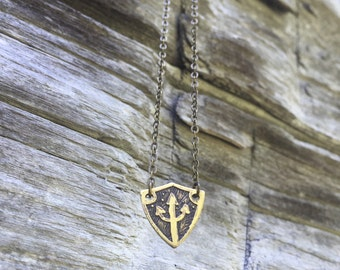 Trident Shield Necklace - Poseidon Neptune Shiva Sigil - Hand Drawn Etched Jewelry - Pitchfork Symbol - Protection Charm Pitchfork Necklace