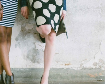 SALE - Large Dot Pencil Skirt - Sweater Knit Skirt, Black Skirt, Jersey Skirt