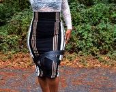 Plus Size High Waist Pencil Skirt - Stripe