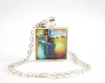 Colorful Necklace, Vivid Abstract Necklace, Teen Jewelry, Teen Gift, Contemporary Art Print, Modern Art Design, Vivid Art Work, Bright Color