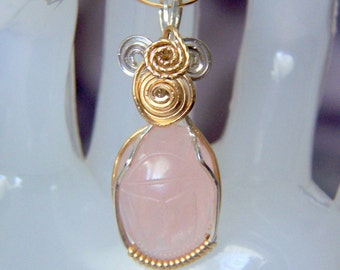 EGYPTIAN Scarab Pendant Rose Pink Quartz Carved Gemstone 2 Tone Sterling Silver & 14kgf Custom Setting