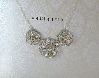 Set of 3 Bridesmaid necklaces  bridesmaids jewelry Set of 4 bridesmaids sets Set of 5 Bridesmaids Gifts  Statement Necklace