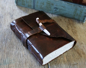 "Leather Journal - ""To see a world in a grain of sand..."" William Blake quote . handmade handbound  . dark brown (320 pgs.)"