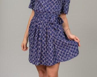 Vintage Cobalt Blue Mini Dress (Size Small/Medium