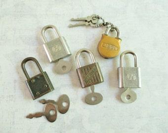 Five Little Vintage Locks with Keys