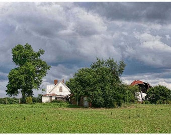 Abandoned Home Photograph - Old Forgotten House 8x12 Photo Art - Abandoned American architecture - Abandoned House Stormy Skies Wall Art