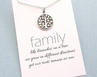 Tree of Life Necklace | Tree Necklace | Family Tree Jewelry | Mother Gift | Charm Pendant Necklace | Sterling Silver | FA01