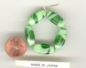 5 Vintage Japan Mint & Kelly Green Translucent Opaque 4 Sided Glass Beads 19x9mm No.55F