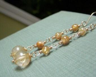 Rutilated Quartz Chain Earrings, Round Gemstone Earrings Long Wirewrapped Dangle, Golden Rutile Goldfilled Earrings Gold Filled Chain Earing