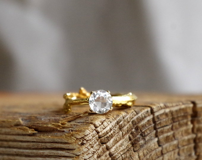 Gold White Topaz Twig Ring Alternative Diamond Engagement Ring Sterling Silver Botanical Ring Aries April Birthstone from Nafsika