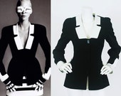 Thierry Mugler 1994 Vintage Documented Runway Black and White Blazer